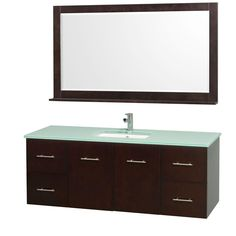 Centra 60-inch W Vanity in Espresso with Glass Top in Aqua and Undermount Sink