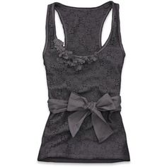 Grey lacy tank with a bow detail