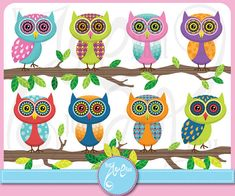 Owl ClipArt  Owl clipart,Cute Colorful Owl Personal and Small Commercial Use,cards, invitation,scrapbooking and paper craft Ow003