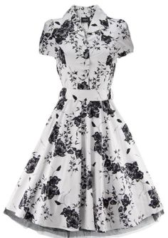 Modern Grease Clothing and Accessories Co. - 50's Housewife Dress White Black Floral, $46.99 (http://www.moderngrease.com/hearts-and-roses-london-rockabilly-50s-housewife-dress-white-black-floral/ladies/)