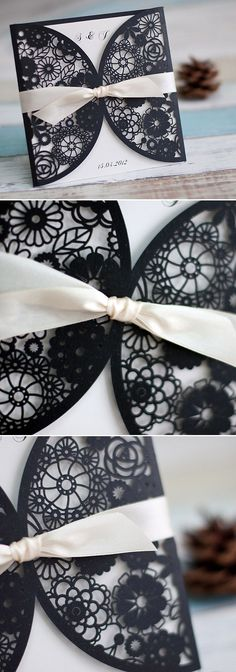 black and white laser cut wedding invitations with ivory ribbon