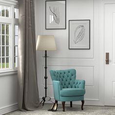 The Portfolio Home Furnishings Priscilla chair features upholstery in a soft turquoise blue velvet. The classic small scale design arm chair features a button tufted rolled back highlighted with a self welt.
