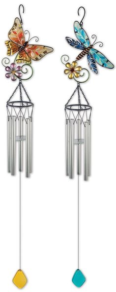 2 Piece Butterfly and Dragonfly Wind Chime Set