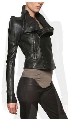 Black leather modern jacket. Rick Owens