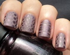 """China Glaze Below Deck, China Glaze Rendezvous With You, 2 images from plate DRK-A and Essence Matt."""
