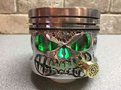 Hand Carved Harley Davidson Motorcycle Piston for Display / Decor,Man Cave,SKULL Crane, Welding And Fabrication, Metal Projects, Harley Davidson Bikes, Metal Art, Metal Working, Man Cave, Hand Carved, Gemstone Rings