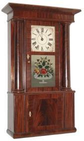 Rodney Brace, North Bridgewater, Mass., 30 hour, and strike, weight wooden movement column and cornice shelf clock. c1830.http://www.roschmitt.com/