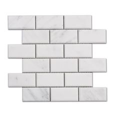 Venato Carrara Honed Marble Beveled Subway Tile Sheet Size: Material Thickness: Subway Tile: Deep Bevel Price Per Sq. Honed Marble, Marble Mosaic, Mosaic Tiles, Mosaics, Mosaic Wall, Wall Tiles, Subway Tile Patterns, Beveled Subway Tile, Diy Shower
