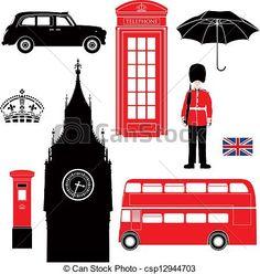 Londres, Símbolo, -, ícones, -, silueta - csp12944703
