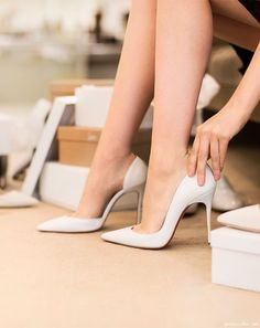 White Louboutin heels on the blog today / Garance Doré