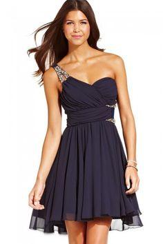 Short One Shoulder Black Chiffon Homecoming Dress