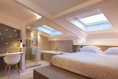 Open bathroom on attic room - shades of white and beige. Open bathroom on Attic Master Bedroom, Attic Bedroom Designs, Attic Bedrooms, Bedroom Loft, Home Bedroom, Master Suite, Bedroom Ideas, Bedroom Corner, Guest Suite