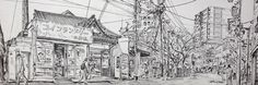 Artist - Itsuo Kiritani   Title - Itabashijuku, Itabashi(板橋宿、板橋)  Dimensions - (17.5cm x 50cm)    Year - 2007  Media - Pen and Ink on Paper   Exhibition - ANA InterContinental Tokyo  Nov. 9, 2015 - Feb. 9, 2016     Inquiry