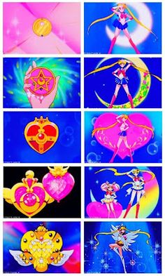 Sailor Moon and Sailor Chibi-Moon. Brooches and Transformations. (Anime)