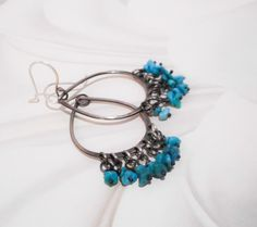 Turquoise Fringed Chandelier Earrings // Sterling Silver and Turquoise