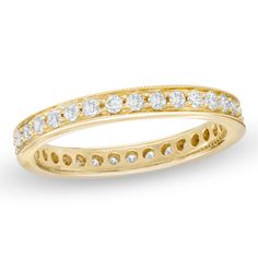 Hers 1/2 CT. T.W. Diamond Eternity Channel Set Milgrain Wedding Band in 14K Gold - Zales