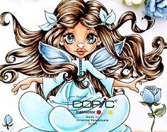 Copic Marker Europe ~ Copic colours I used: Hair: E43, E44, E47. Skin: E11, E02, E00, E000. Wings and roses: B91, B93, B95. Dress: B00, B000, B0000, B21. Floor: E30. Stones: E43.