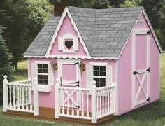 My sisters and I had a play house like this when we lived on the north end of the city.  A lot of memories were made in that play house.  This is cute and girly!