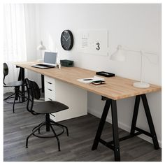 44 Ideas For Home Office Desk Ideas Ikea Black White Desk For Two, Big Desk, Large Desk, Ikea Design, Design Design, Home Office Space, Home Office Desks, Double Desk Office, Ikea Office