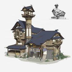 Concept Fantasy Architecture and Interior – 715 fotos Fantasy City, Fantasy House, Fantasy Places, Fantasy World, Game Design, Prop Design, Building Concept, Building Art, Building Games