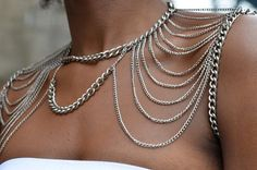 i like this look! #LELOBridal #wedding Two Faced Shoulder Chain Chain.