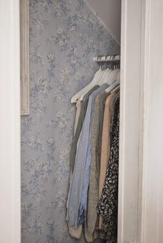 Wallpapered Closet! Love it!