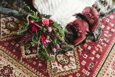 With winter in full swing it is time to take celebrations indoors. With the golden warmth of a lit fire, rich colours, bold textures and indulgent eats, mo Emma Frost, Winter Night, Supernatural, Bohemian Rug, Floral Design, Colours, Winter Weddings, Creative, Pretty
