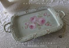 beautiful hand painted vintage shabby romantic tray by Debi Coules is available at www.debicoules.com