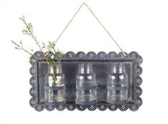 Tin Wall Decor with 3 Glass Vases