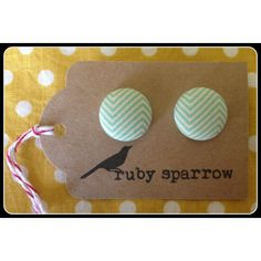 $9.00 Blue Chevron Fabric Covered Button Earrrings by RubySparrow on Handmade Australia