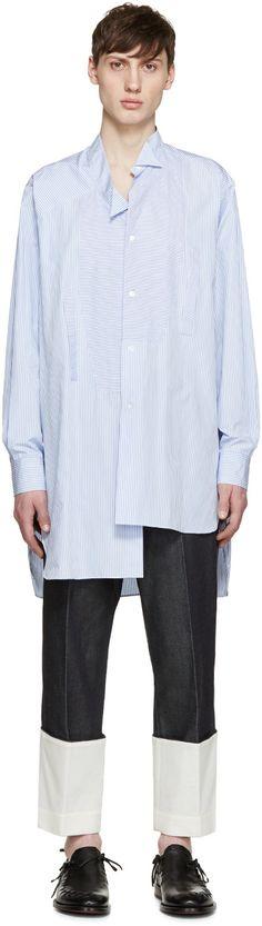 Loewe - Blue & White Striped Asymmetric Shirt