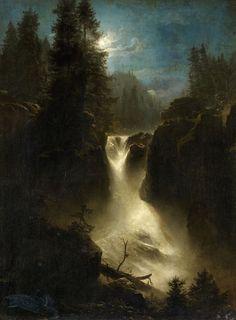 Oswald Achenbach (1827 Düsseldorf - 1905 Düsseldorf), Moonlit Alpine Landscape, Oil on canvas (relined). 63 x 47 cm.