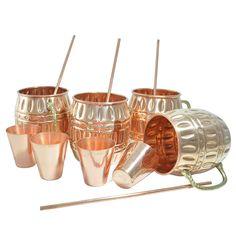 Amazon.com   DakshCraft ® Copper Barrel Mug (Capacity 18.59 oz) with FREE Copper Shot Glass (Capacity - 2 oz pr glass) & Copper Straw, Set of 4: Glassware & Drinkware