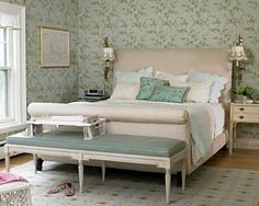 Suzie: seafoam green  blue & green french country bedroom design with blue wallpaper in a ...