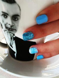 #gel #diy #blue #nails Blue Gel Nails, Diy, Bricolage, Do It Yourself, Homemade, Diys, Crafting
