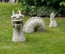 Grand 3 Pieces Dragon Statue Decoration De Jardin Pierre