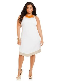 Linen striped dress Cute Dresses, Dresses For Work, All White Party, Full Figure Fashion, Plus Size Fashion, Curvy Fashion, White Dress, Striped Dress, Playing Dress Up