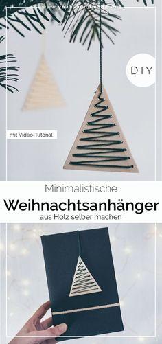 DIY Minimalist Christmas pendants made of wood - DIY Geschenkverpackung - Holz Christmas Labels, Christmas Tag, Christmas Crafts, Christmas Ornaments, Scandinavian Christmas Decorations, Christmas Tree Decorations, Minimalist Christmas Tree, Diy Tumblr, Navidad Diy