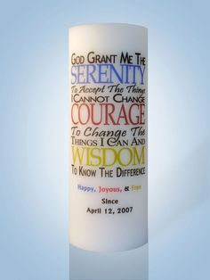 Serenity AA / NA Recovery Candles by IThinkICanDesigns on Etsy Personalized Candles, Personalized Wedding, Flameless Candles, Pillar Candles, Memory Candle Wedding, Candle Store, Courage To Change, Serenity Prayer, Beautiful Candles