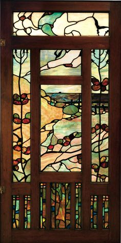 Greene & Greene Entry Hall Leaded Glass and Sectioned Wood Frame Window Panel designed for the Jennie A. Reeve House, Long Beach, California, ca. Leaded Glass, Stained Glass Art, Stained Glass Windows, Mosaic Glass, Glass Door, Glass Vase, Art Nouveau, William Morris, Craftsman Style Homes