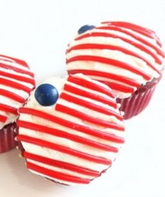 """Decorate your cupcakes with """"stars"""" and stripes—if you can't find dark blue M&Ms, use blueberries for a similar color. Photo and idea from Created by Diane."""