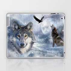 Wolves Laptop & iPad Skin by Julie Hoddinott - $25.00