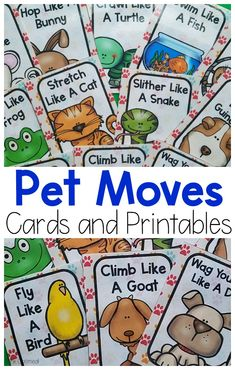 Pet themed activities. Fun ways to move your body like your favorite pets. Use these for your pet activities for preschool. Use them for pet themed gross motor or pet themed brain breaks!