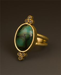 18k royal yellow gold with black diamond and turquoise  maria samora