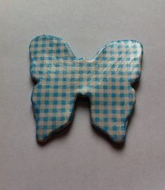 Blue checked butterfly fridge magnet #etsy, #MoggysMall, #butterfly, #fridge magnet, #decopatch