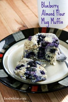 Blueberry Almond Flour Mug Muffin. Unlike a regular muffin, this one is low in carbs and can be made in the microwave in just minutes. Grab it and go!