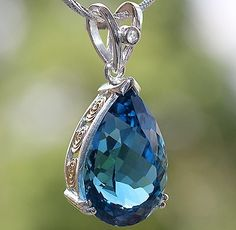 SOLID 14K & 925SS 17.60 cts SWISS BLUE TOPAZ & WHITE SAPPHIRE PENDANT  GORGEOUS HANDMADE SOLID 14KGOLD & 925SS 5 PIECE CASTING