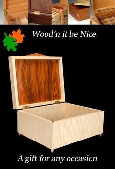 A finely crafted wood keepsake box makes a perfect gift for any occasion. Built to provide a lifetime of pleasure and use. 5th Wedding Anniversary, Aesthetic Design, Wood Boxes, Keepsake Boxes, Elegant, Nice, Gifts, Classy, Wooden Crates