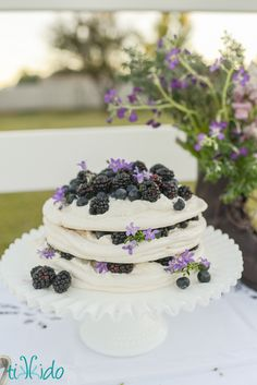 Pavlova with fresh fruit and flowers - a fresh take on a birthday party for pre-teen girl quickly out-growing childhood parties. I love the cool blues and purples against the snowy pavlova. Equestrian English tea by Tikkido.