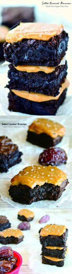 SALTED CARAMEL BROWNIES (GLUTEN FREE VEGAN EGG FREE) - avocado, brownies, carame, chocolate, dessert, gluten free, recipes, vanilla, vegan